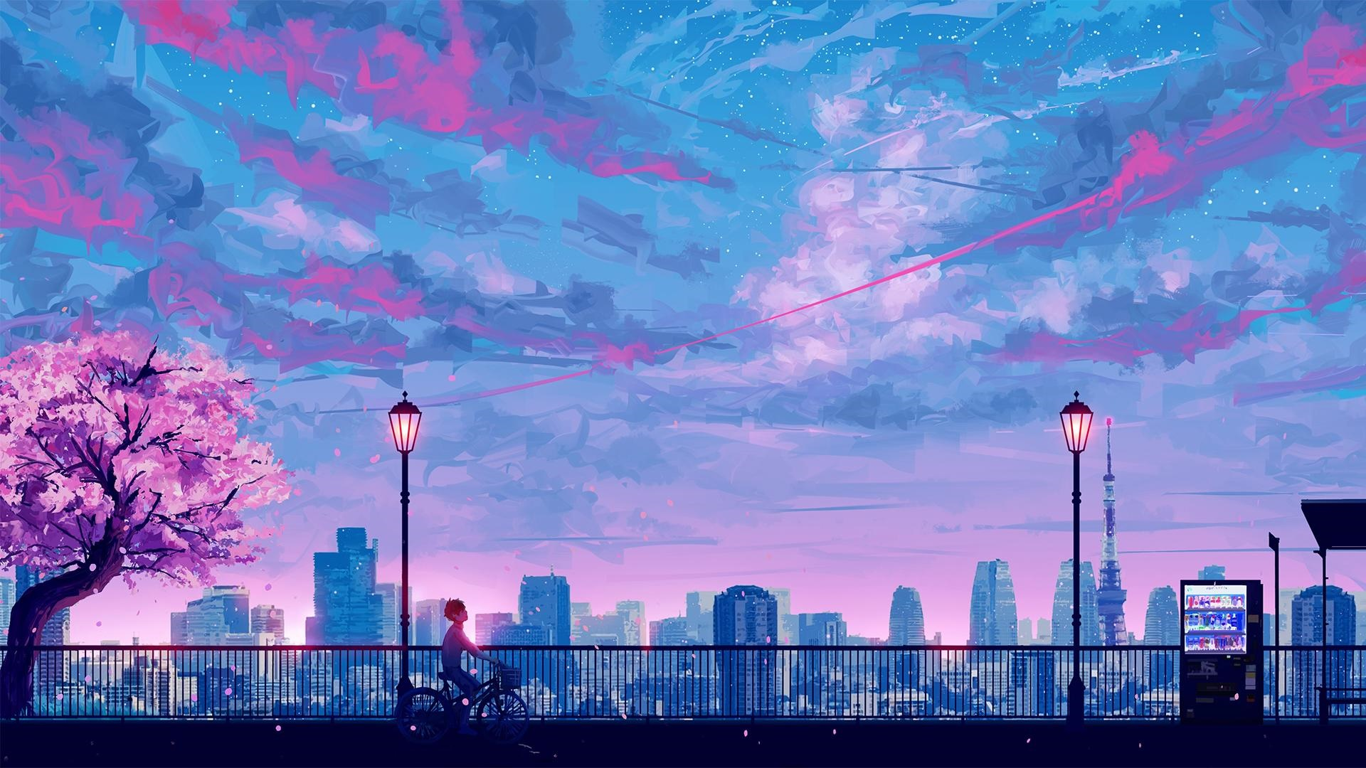 Anime City in Spring HD Wallpaper | Background Image ...