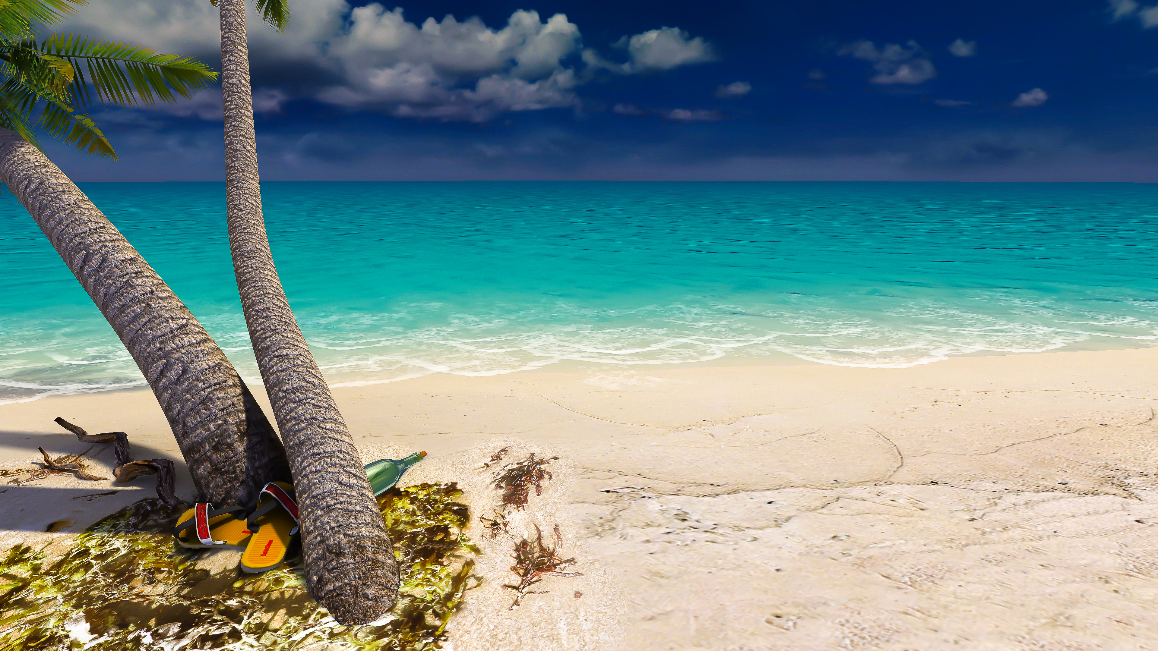 Sandy Beach 4k Ultra Hd Wallpaper Background Image 3840x2160