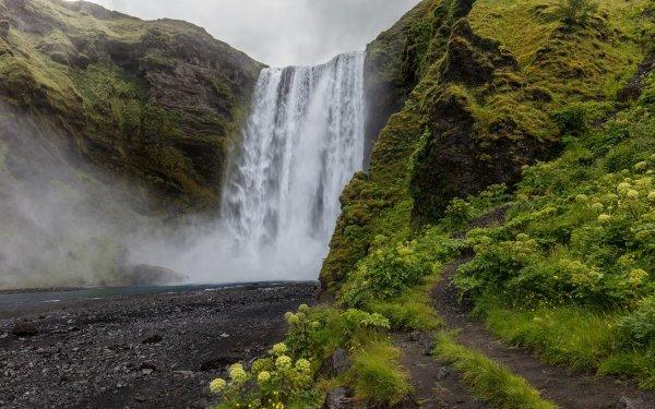 Earth Skógafoss Waterfalls Waterfall HD Wallpaper | Background Image