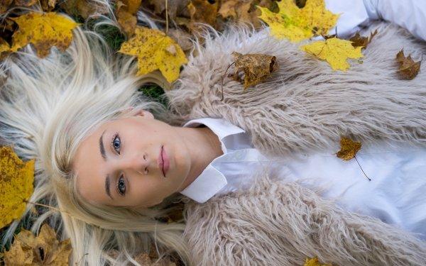 Women Model Models Lying Down Blonde Leaf Blue Eyes HD Wallpaper   Background Image