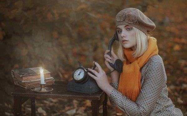 Women Model Models Woman Blonde Hat Blue Eyes Scarf Telephone HD Wallpaper   Background Image