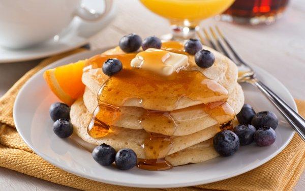 Food Pancake Breakfast Blueberry Butter HD Wallpaper | Background Image