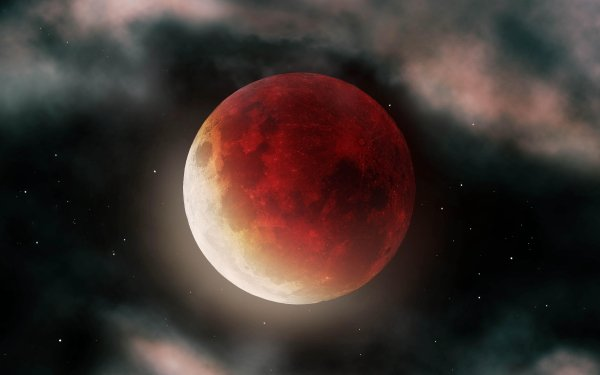 Earth Moon Blood Moon Space Stars HD Wallpaper | Background Image