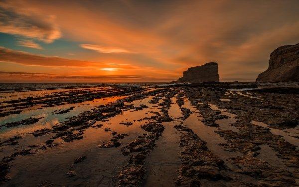 Earth Ocean Sunset Rock Horizon HD Wallpaper | Background Image