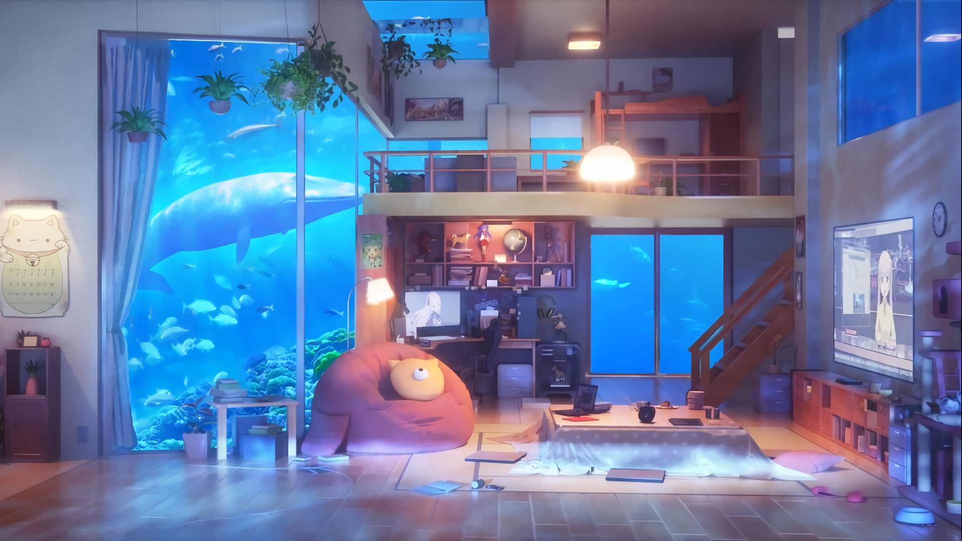 Anime Living Room Underwater HD Wallpaper   Background ...