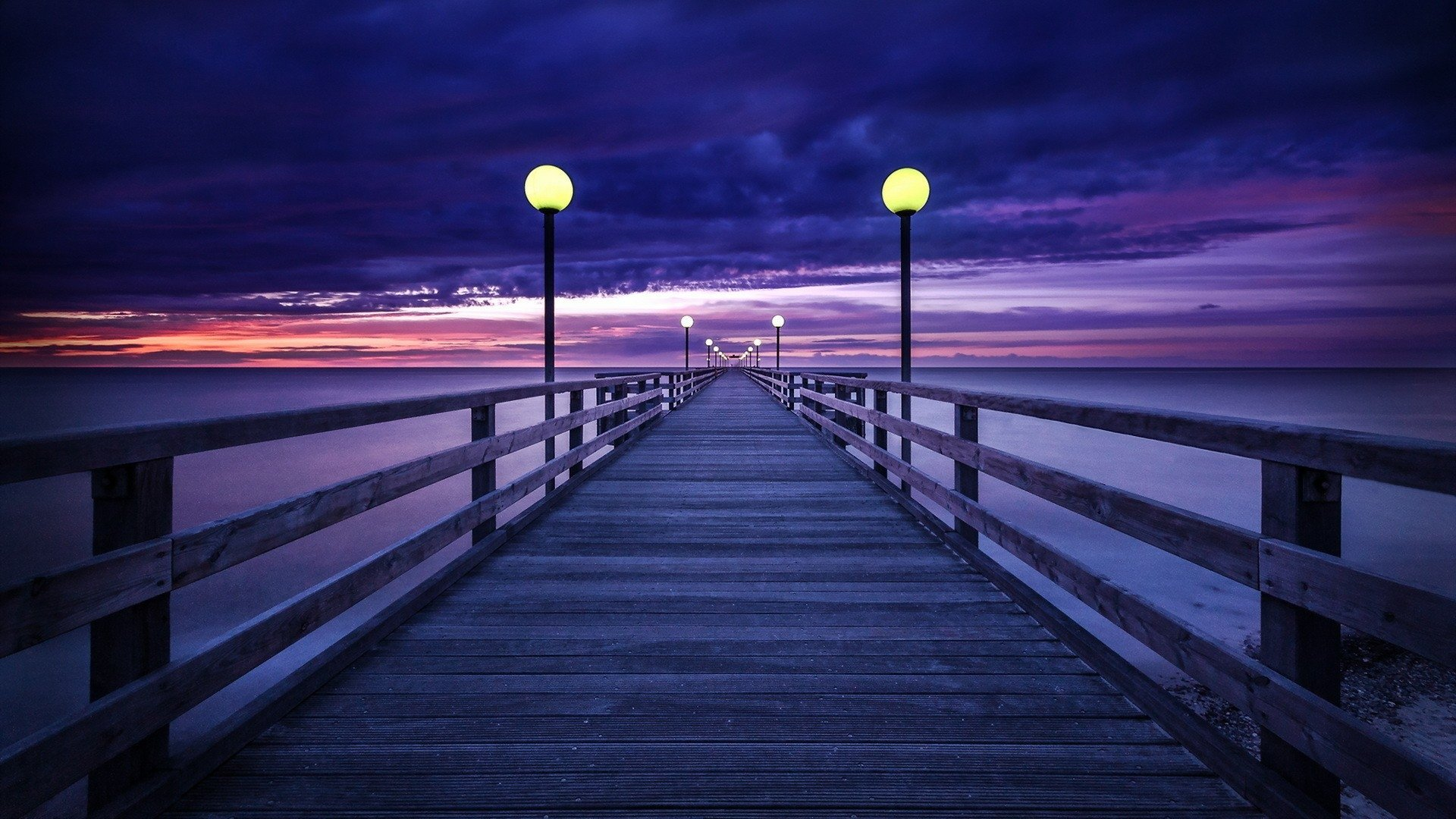 Purple Sunset Sky Over Pier Hd Wallpaper Background Image 1920x1080 Id 1026263 Wallpaper Abyss