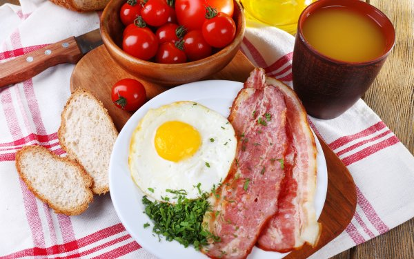 Food Breakfast Bacon Egg Juice Tomato HD Wallpaper   Background Image