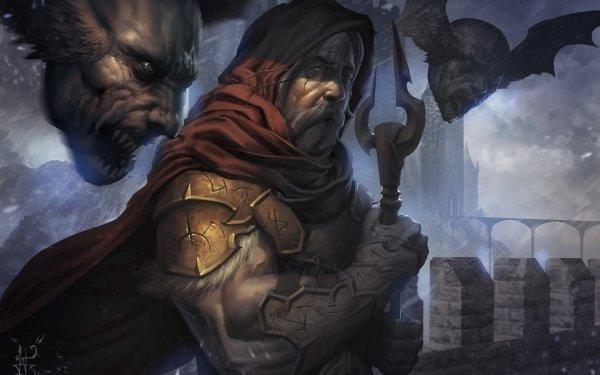 Dark Sorcerer Creepy Man Staff HD Wallpaper | Background Image
