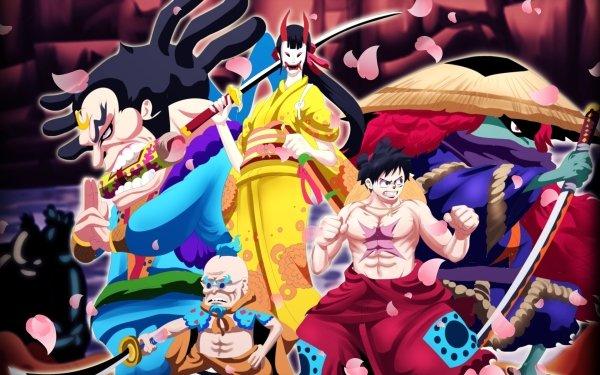 Anime One Piece Raizo Hyogoro Kiku Monkey D. Luffy Kawamatsu HD Wallpaper | Background Image