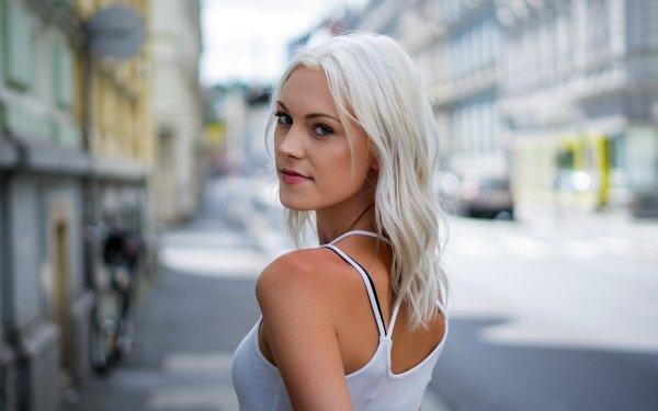 Women Model Models Depth Of Field White Hair Platinum Blonde HD Wallpaper   Background Image