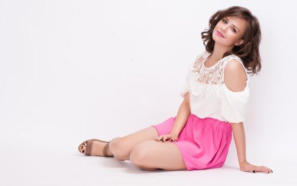 Women Model Models Girl Elena Kharichkina Woman Skirt Brunette Blue Eyes HD Wallpaper | Background Image