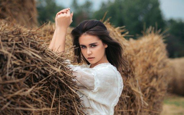 Women Model Models Haystack Black Hair Blue Eyes HD Wallpaper   Background Image