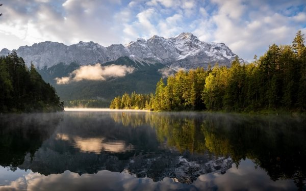 Earth Reflection Bavaria Nature Lake Mountain HD Wallpaper | Background Image