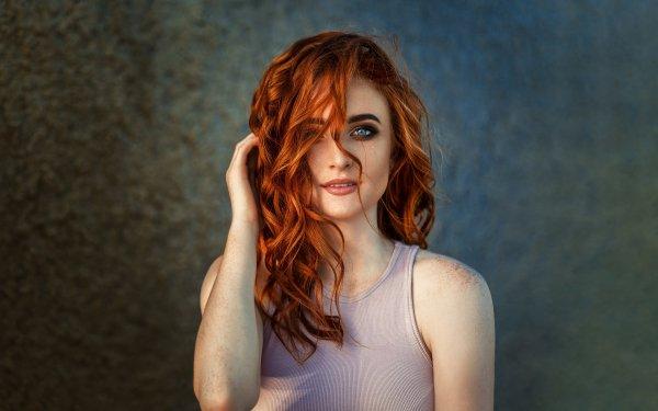 Women Model Models Blue Eyes Freckles Redhead HD Wallpaper | Background Image