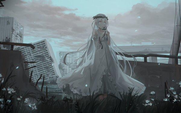 Anime Original Fille White Hair White Eyes Post Apocalyptique White Dress Fond d'écran HD | Arrière-Plan