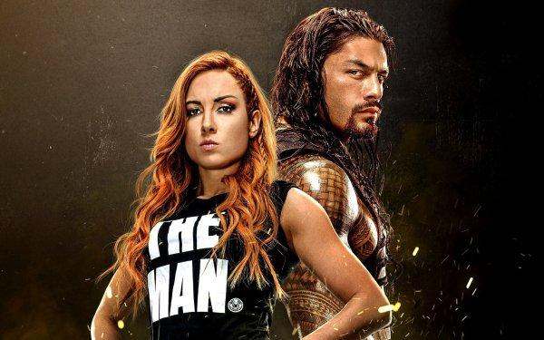 Video Game WWE 2K20 Roman Reigns Becky Lynch HD Wallpaper | Background Image