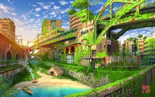 Anime Original Train Post Apocalyptic HD Wallpaper   Background Image