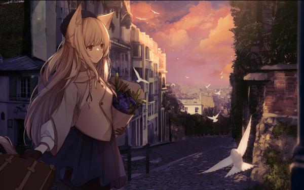 Anime Original Animal Ears White Hair Long Hair City Bird Red Eyes HD Wallpaper | Background Image