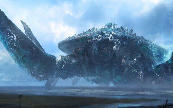 Fantasy Creature Crab City HD Wallpaper | Background Image