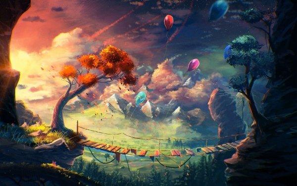 Fantasy Landscape Bridge Tree Balloon HD Wallpaper | Background Image