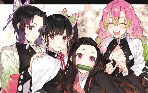 Anime Demon Slayer: Kimetsu no Yaiba Nezuko Kamado Shinobu Kochou Kanao Tsuyuri Mitsuri Kanroji HD Wallpaper | Background Image