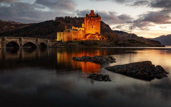Man Made Eilean Donan Castle Castles United Kingdom Scotland Lake Castle Bridge HD Wallpaper | Background Image