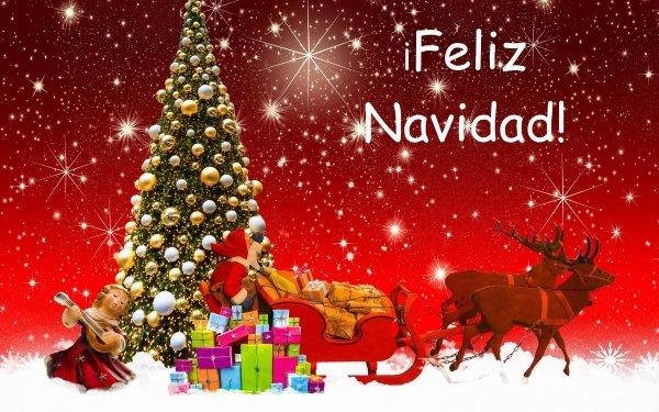 Holiday Christmas Merry Christmas Santa Sled Reindeer Gift Christmas Tree HD Wallpaper   Background Image