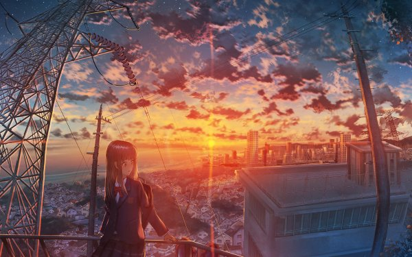 Anime Original Girl City Sunset Starry Sky HD Wallpaper   Background Image