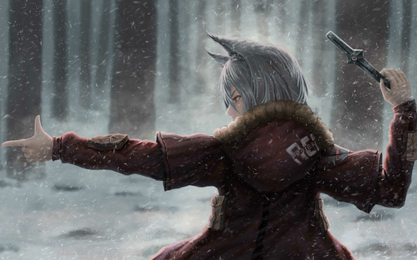 Video Game Arknights White Hair Animal Ears Snow Knife HD Wallpaper | Background Image