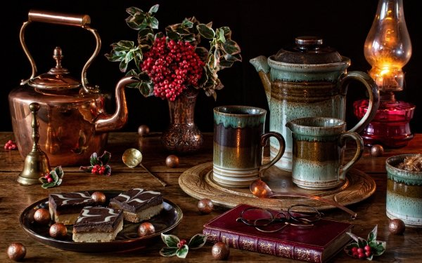 Photography Still Life Book Pastry Teapot Cup Berry HD Wallpaper | Background Image