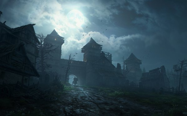 Oscuro Castle Castillos Noche Luna Fondo de pantalla HD | Fondo de Escritorio