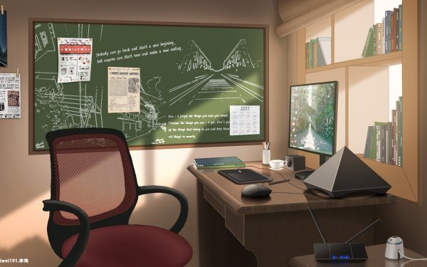 Anime Room Chair Computer Pen HD Wallpaper | Background Image