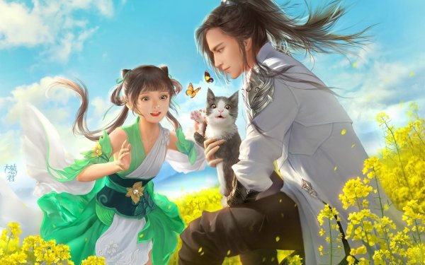 Anime Original Cat Butterfly Rapeseed HD Wallpaper   Background Image