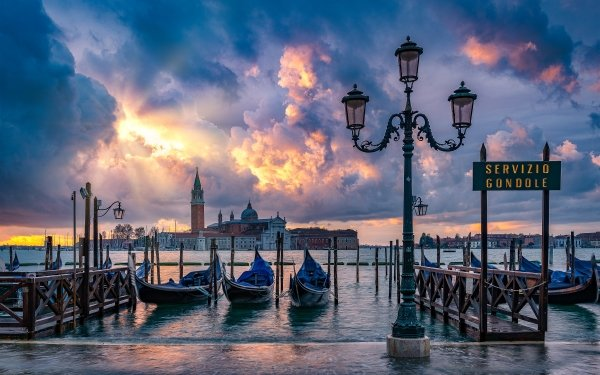 Man Made Venice Cities Italy Cloud Lamp Post Gondola Grand Canal HD Wallpaper | Background Image
