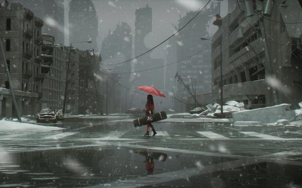 Anime Original Red Hair Long Hair Umbrella Post Apocalyptic City Snow HD Wallpaper   Background Image