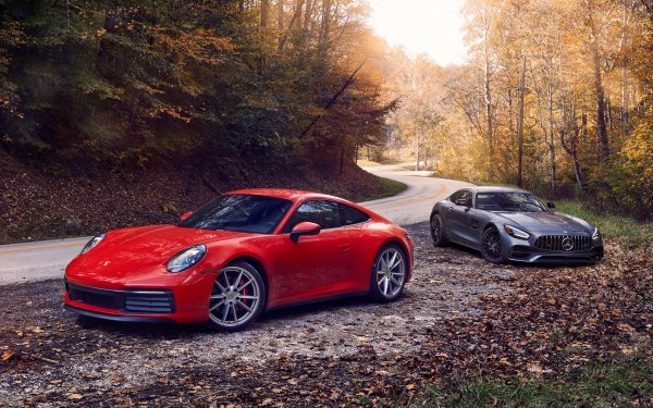 Vehicles Car Porsche 911 Carrera S Mercedes-AMG GT Red Car HD Wallpaper   Background Image