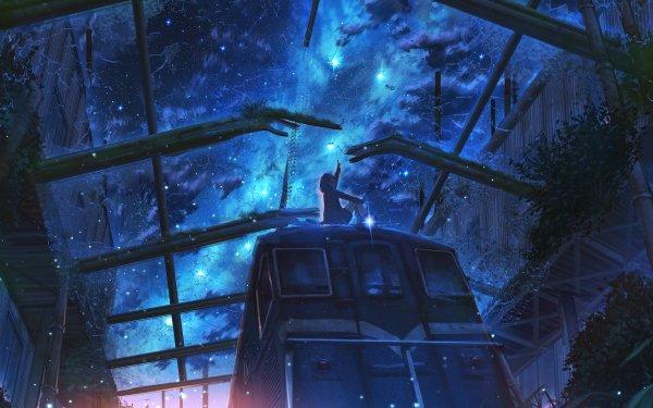 Anime Original Train Night Starry Sky Sky Girl HD Wallpaper   Background Image