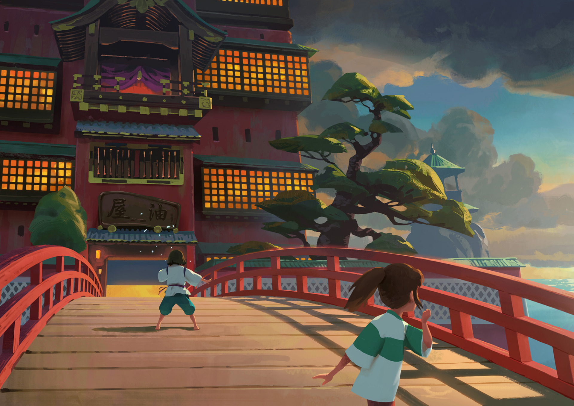 Haku And Chihiro On The Bridge Leading To The Bathhouse Hd Wallpaper Background Image 1920x1356 Id 1062086 Wallpaper Abyss