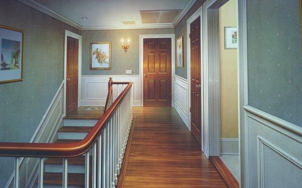 Anime Original Door Stairs HD Wallpaper   Background Image