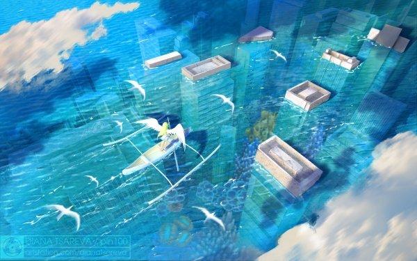 Anime Original Wings Ruin Boat Water Flood City HD Wallpaper   Background Image