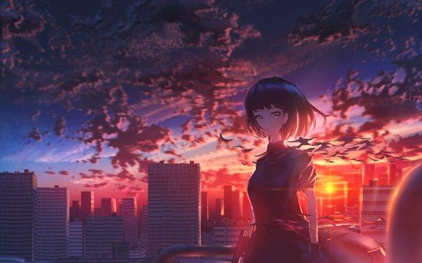Anime Original Girl Sunset Short Hair City Sky HD Wallpaper   Background Image
