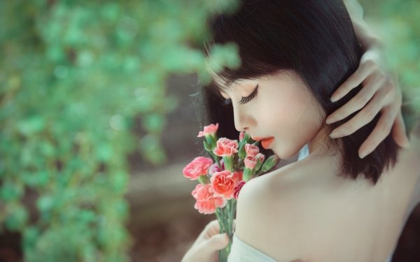Women Asian Model Mood Black Hair HD Wallpaper | Background Image