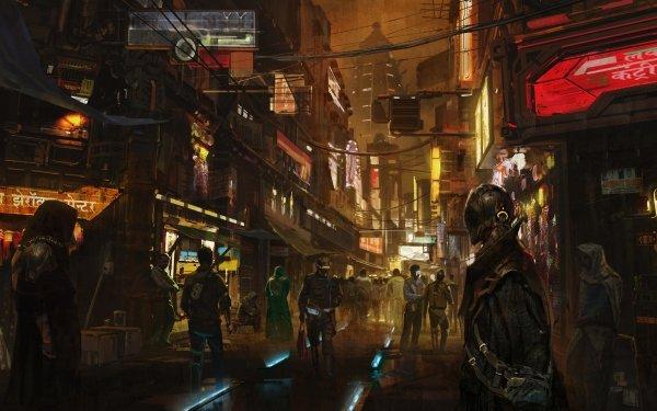 Science Fiction Cyberpunk Rue Concept Art Fond d'écran HD   Image