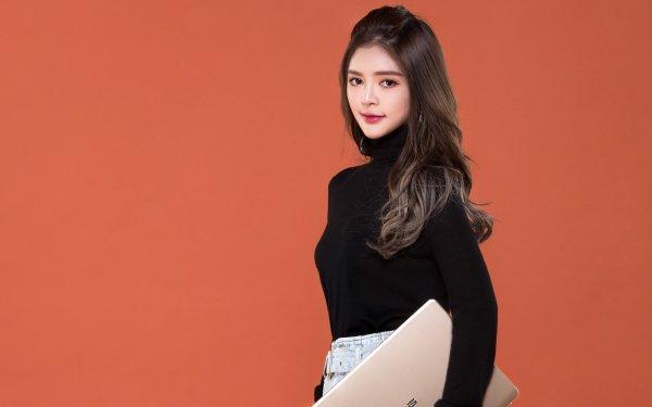 Women Asian Model Long Hair Brunette Laptop HD Wallpaper | Background Image