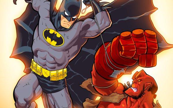 Comics Crossover Hellboy Batman Superhero DC Comics Dark Horse Comics HD Wallpaper | Background Image