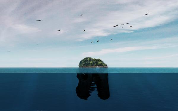 Fantaisie Island Nuage Oiseau Dinosaure Bleu Fond d'écran HD | Arrière-Plan