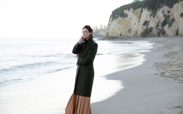 Celebrity Caitriona Balfe Actresses Ireland Actress Irish Face Black Hair Short Hair Depth Of Field Coat Beach HD Wallpaper   Background Image