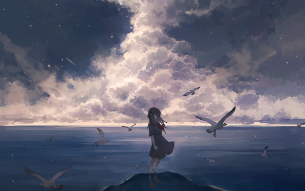 Anime Original School Uniform Long Hair Bird Sea Cloud HD Wallpaper   Background Image
