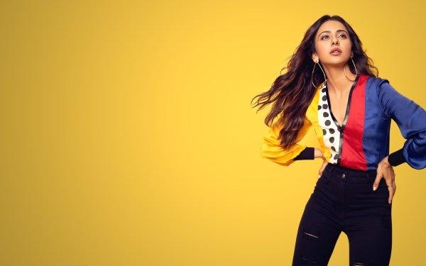 Celebrity Rakul Preet Singh Actresses India Brunette Indian Actress Bollywood Earrings Long Hair Brown Eyes HD Wallpaper | Background Image
