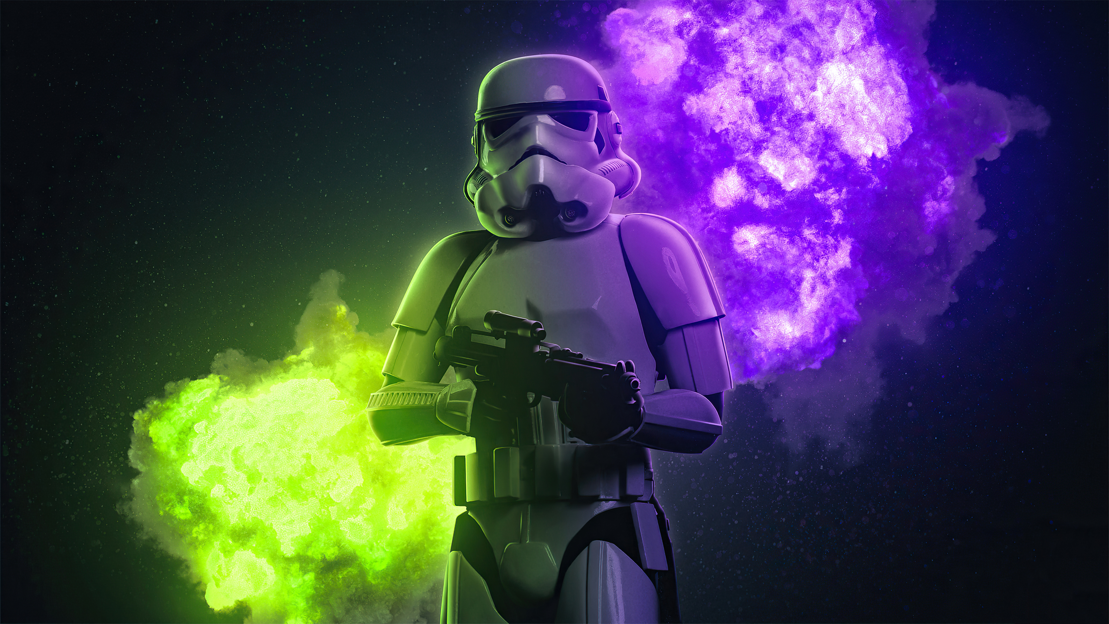 Stormtrooper With A Green And Purple Smoke Background 4k Ultra Hd Wallpaper Background Image 3840x2160 Id 1080776 Wallpaper Abyss